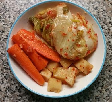 korean kimchi & fermented carrot sticks