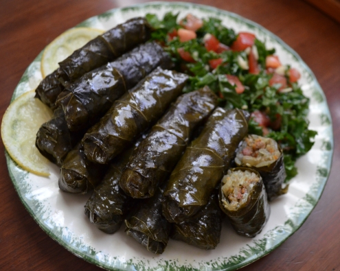Grape Leaf Dolma or Rolls with Minced Meat and Rice