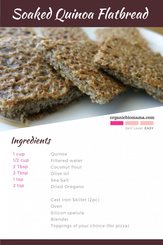 Soaked Quinoa Flatbread or Pizza Crust