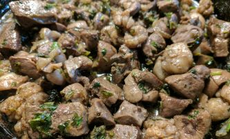 Fried Liver with Onions and Parsley (soft, no livery aftertaste)