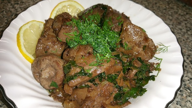 soft cooked lamb liver