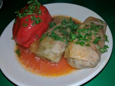 Cabbage Rolls and Stuffed Sweet Peppers with Meat and Rice