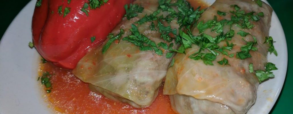 """Cabbage Rolls and Stuffed Sweet Peppers with Meat and Rice (""""Golubtsi"""")"""