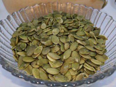 soaked dried salty pumpkin seeds