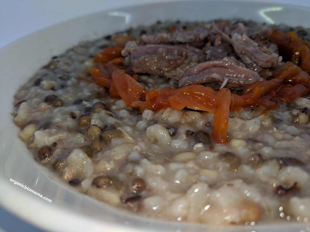 sprouted mung bean porridge with rice and meat 2